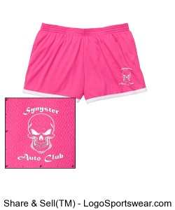 Synyster Auto Club Ladies workout shorts. Design Zoom